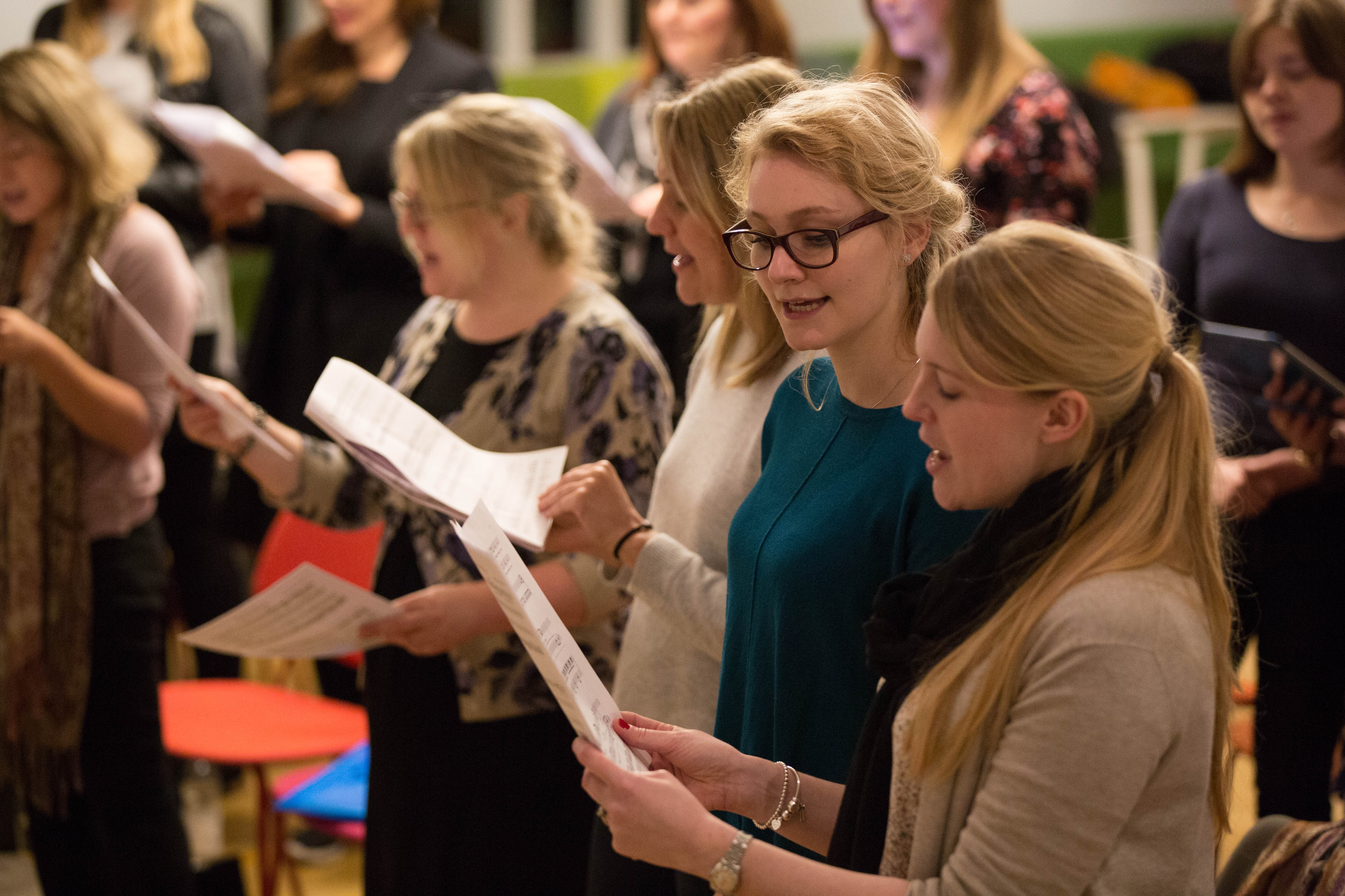 Choir members practice ahead of their forthcoming Christmas show.