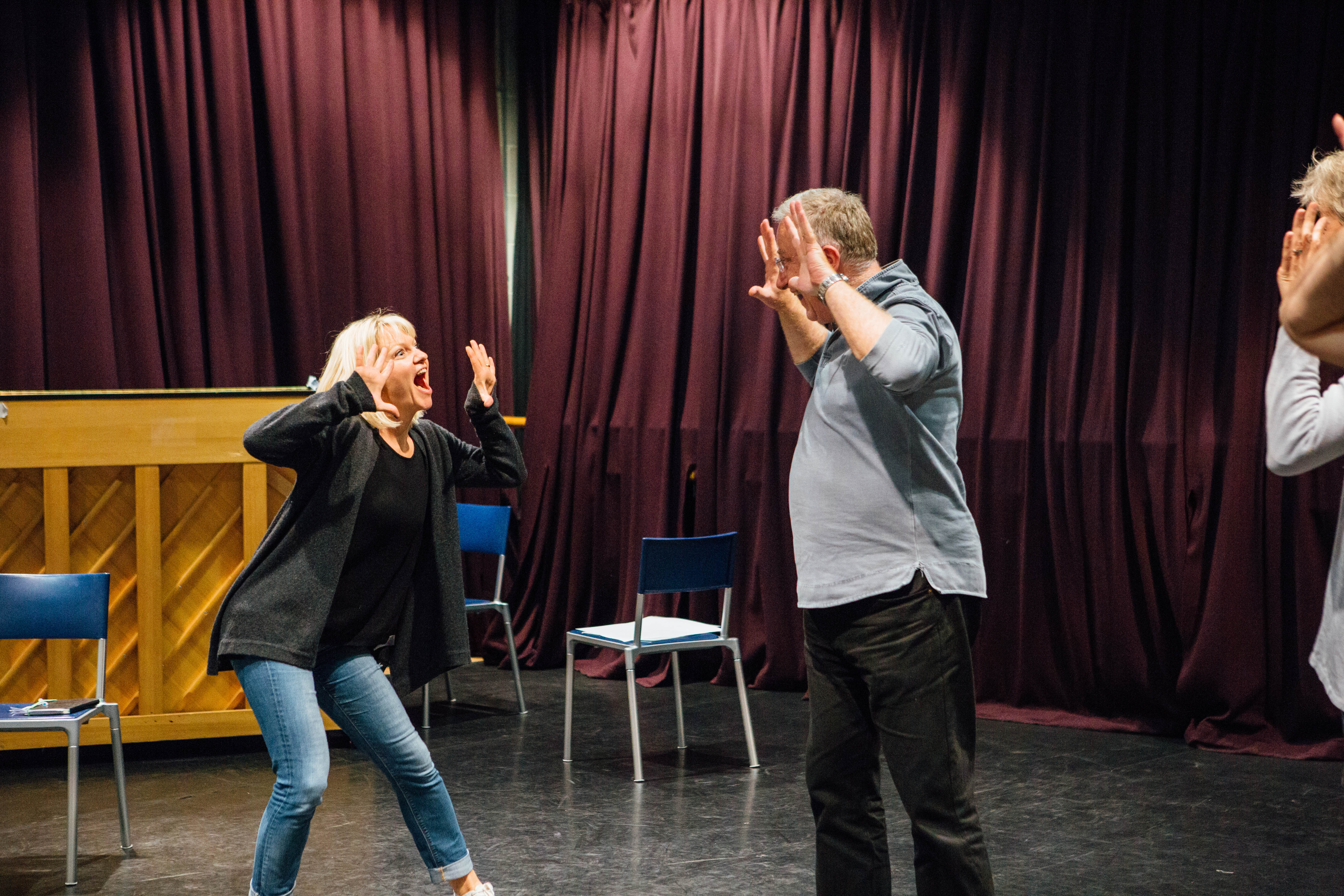 Two acting students do a few warm up games at Soho Theatre.