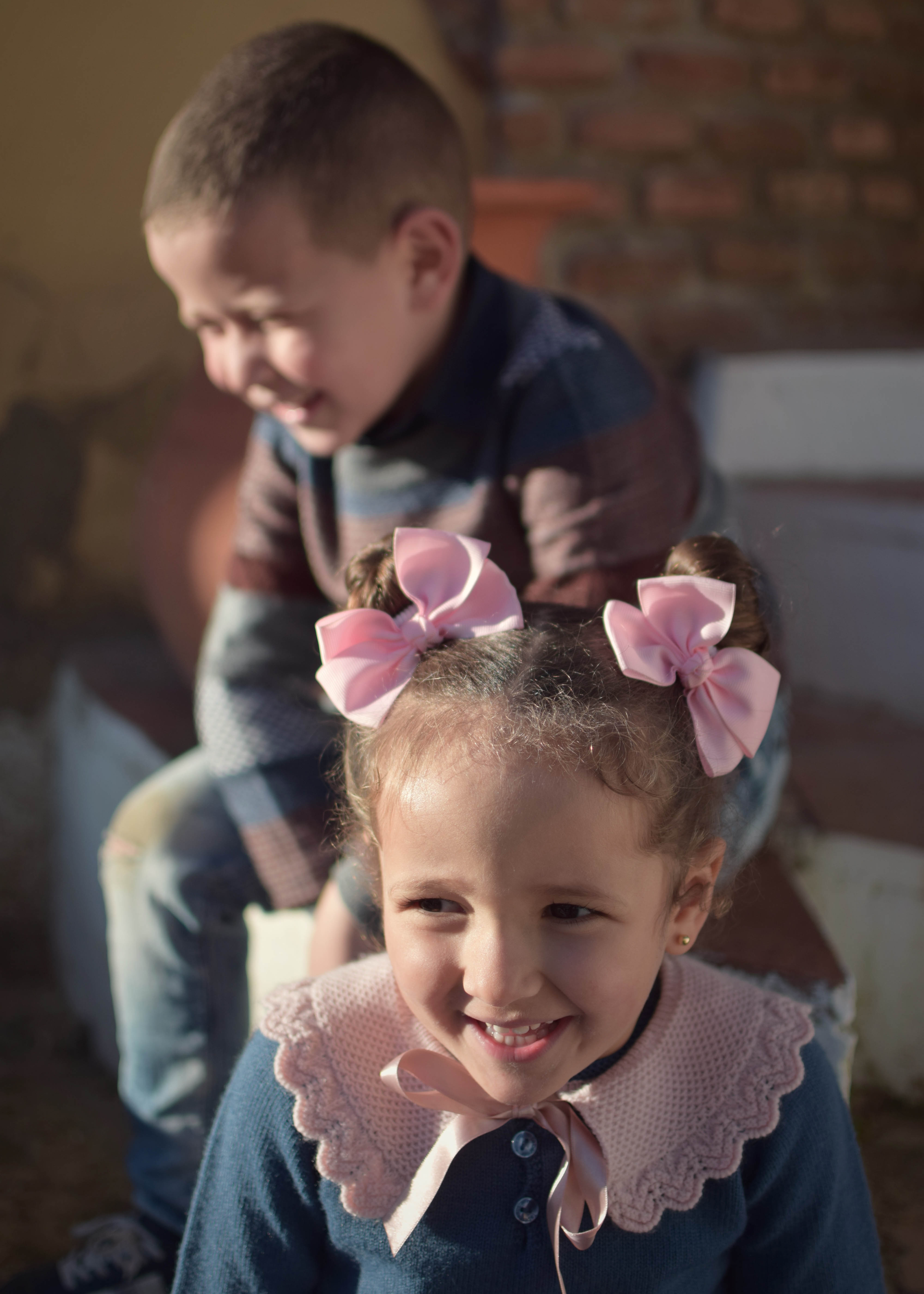 photo of children laughing