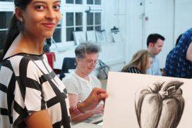 art student displays her artwork
